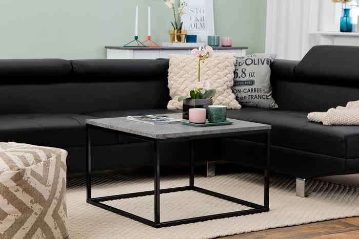 Fyrkantigt soffbord svart med marmor